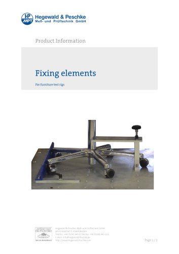 Accessories Furniture testing - Fixing elements
