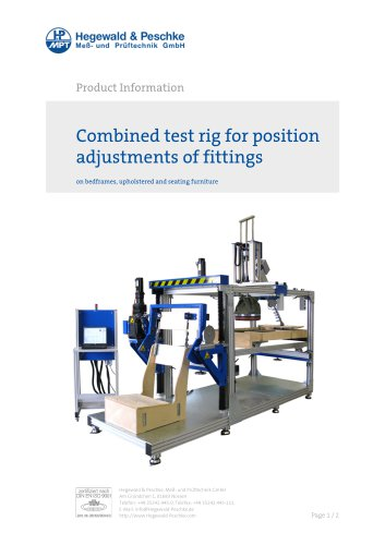 Combined test rig for position adjustments of fittings on bedframes, upholstered and seating furniture