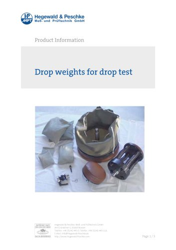 Drop weights for drop test