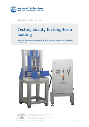 Furniture testing - Single test rigs - Long-term loading and shock absorption measurement on shoes