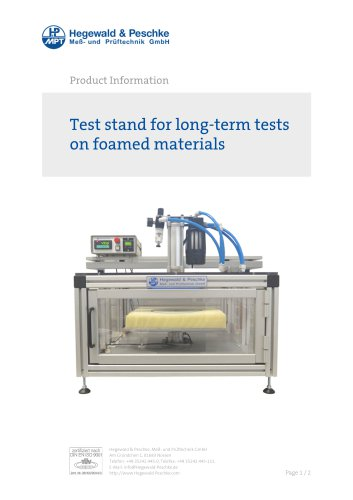 Furniture testing - Single test rigs - Long term tests on foamed materials