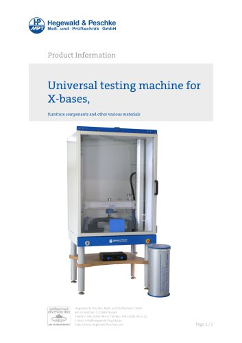 Furniture testing - Single test rigs - Universal testing machine for furniture components
