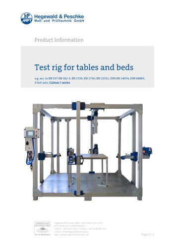 Furniture testing - Test rig for tables and beds