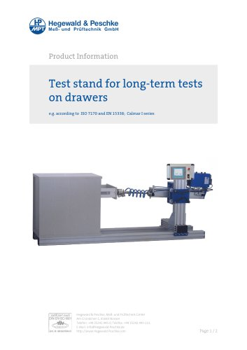 Furniture testing - Test stand for long term tests on drawers