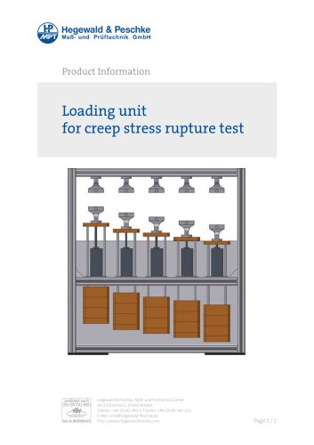 Loading unit for creep stress rupture test