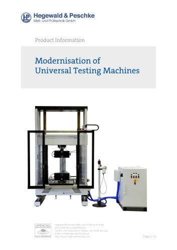 Modernisation of universal testing machines