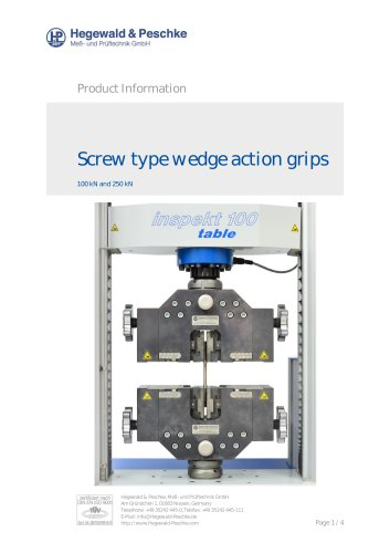 Screw type wedge action grips 250kN