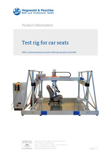 Test rig for aircraft and car seats