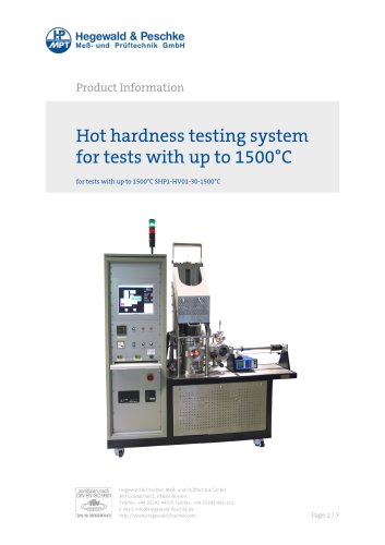 Vickers hardness tester up to 1500°C