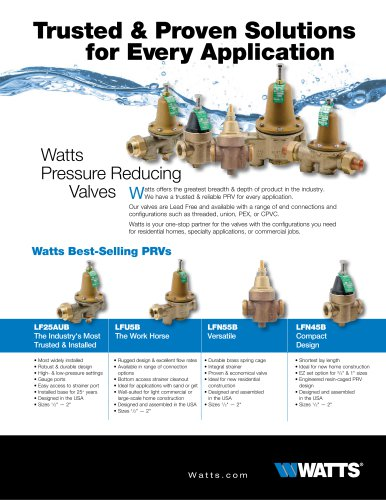 Watts Pressure Reducing Valves
