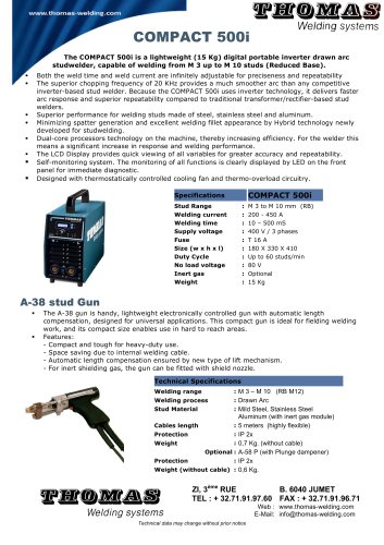 COMPACT 500i - THOMAS WELDING SYSTEMS - PDF Catalogs