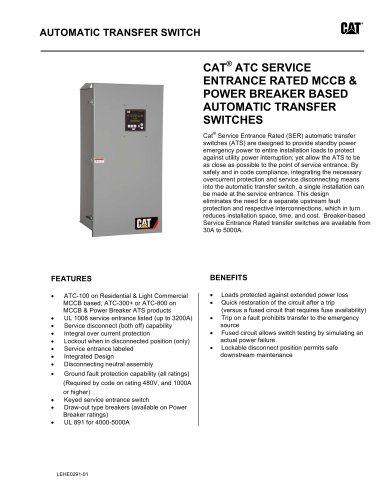 ATC Service Entrance Rated MCCB & Power Breaker Based ATS