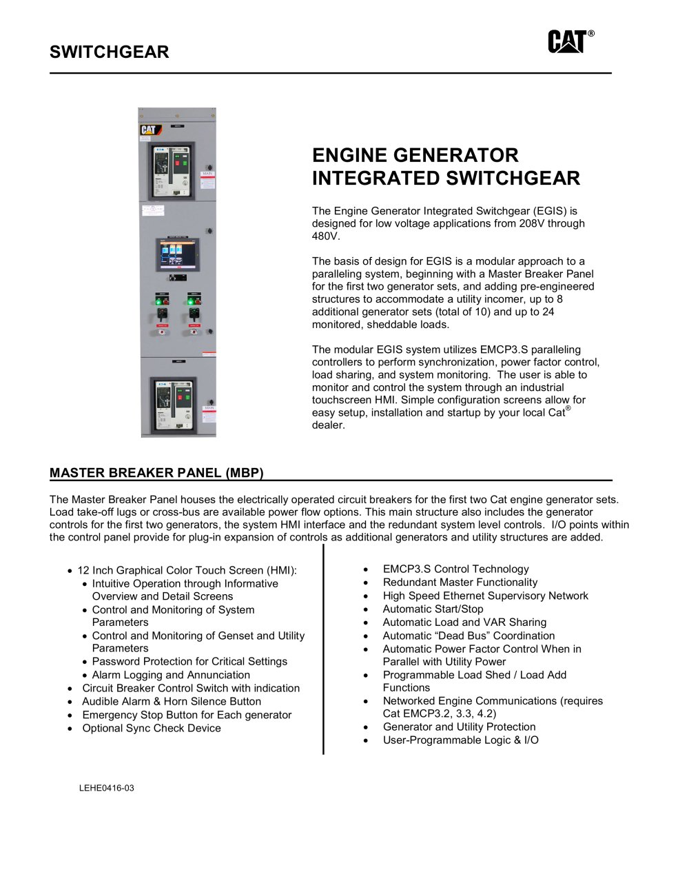Egis Engine Generator Integrated Switchgear Caterpillar Electric Option 2 Power To Switches 1 5 Pages