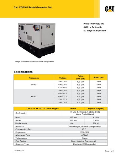 XQP100 Rental Generator SetXQP100 Rental Generator Set (EU Stage IIIA Equivalent)