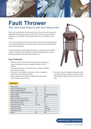 Fault Thrower 38kV 25kA Single Phase to earth fault making switch