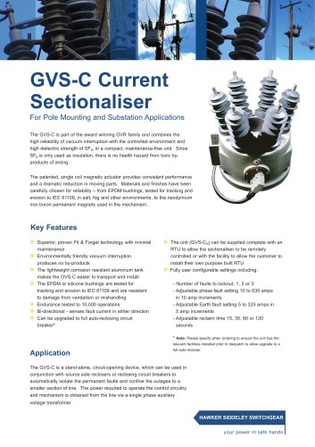 GVS-C Current Sectionaliser For Pole Mounting and Substation Applications