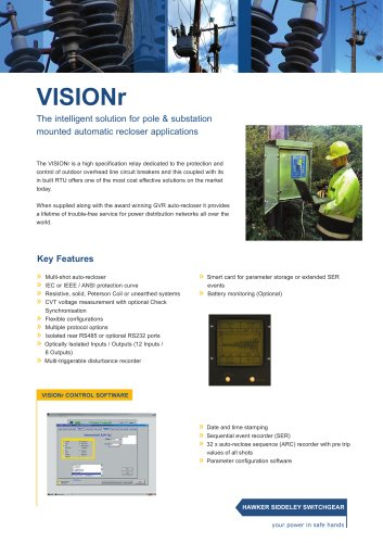 VISIONr The intelligent solution for pole & substation mounted automatic recloser applications