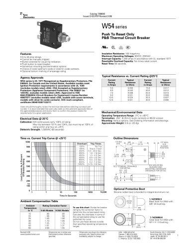 W54 series Push To Reset Only P&B Thermal Circuit Breaker