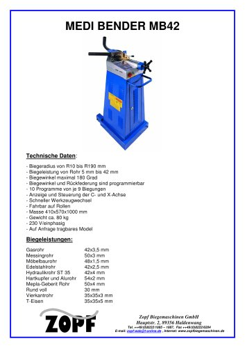 Bendingmachines without mandrel Medi Bender MB42