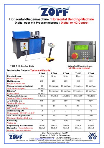 horizontal bending press T 100 - T 500