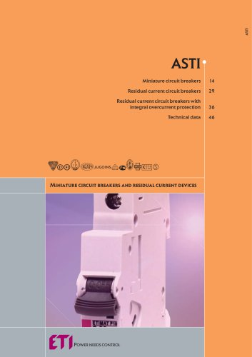 ASTI : MINIATURE CIRCUIT BREAKERS, RESIDUAL CURRENT CIRCUIT BREAKERS, RESIDUAL CURRENT CIRCUIT BREAKERS WITH INTEGRAL OVERCURRENT PROTECTION, MOTOR PROTECTIVE CIRCUIT BREAKERS