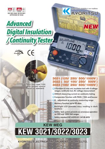 Digital Insulation / Continuity Testers 3021/3022/3023