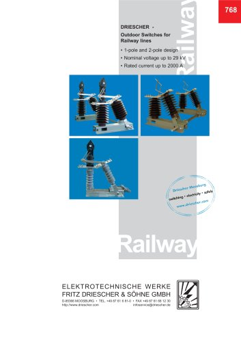 Outdoor switches for railway lines