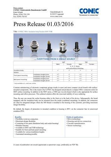 M8x1 SMT/THR press release