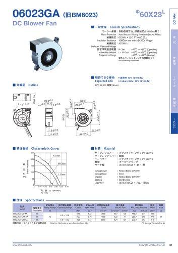 06023GA (旧BM6023) Ф60X23L DCBlowerFan