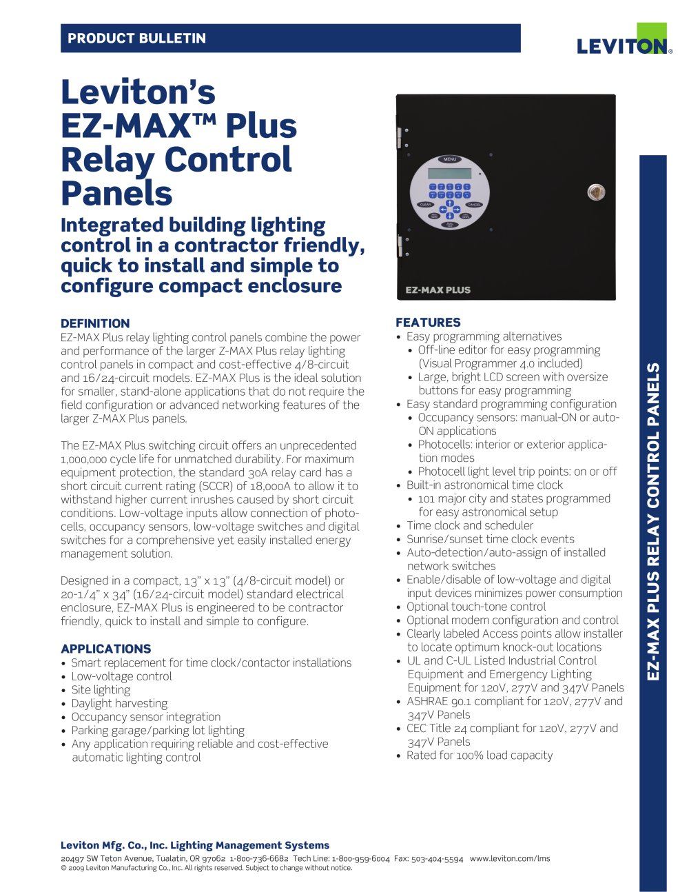 Ez Max Plus Relay Control Panels Leviton Pdf Catalogue Connection In A Circuit 1 2 Pages
