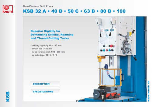 Box- Column drill Press - Knuth Machine Tools - PDF Catalogs