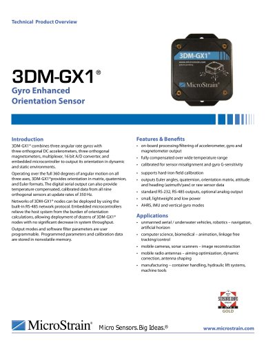 Inclinometers and Orientation Sensors 3DM-GX1®