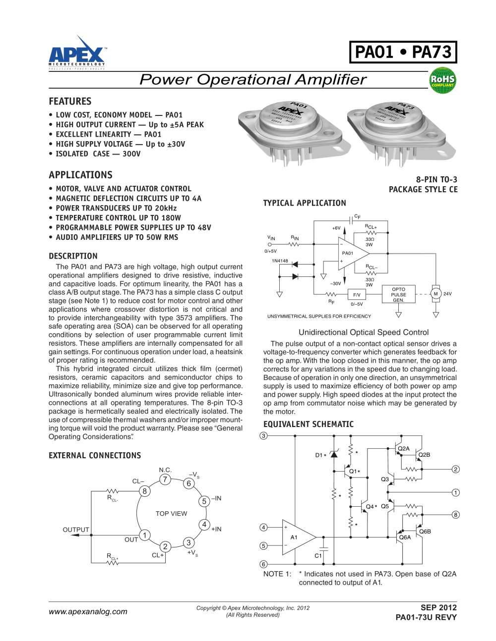 Low Cost 5a 30v Power Amplifier Apex Precision Product Pdf 20v Ultra Op Amps 1 5 Pages