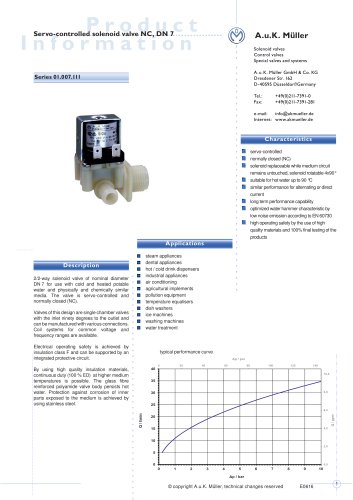 01.007.111 Servo-controlled solenoid valve NC, DN7