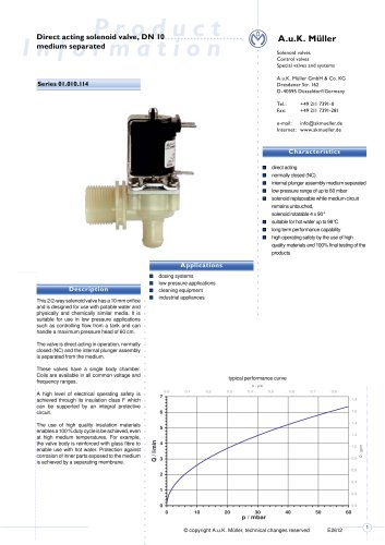 01.010.114 Direct acting solenoid valve, DN 10 media separated