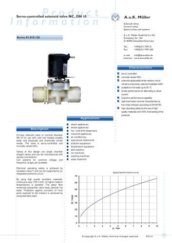 01.010.126 Servo-controlled solenoid valve NC, DN 10