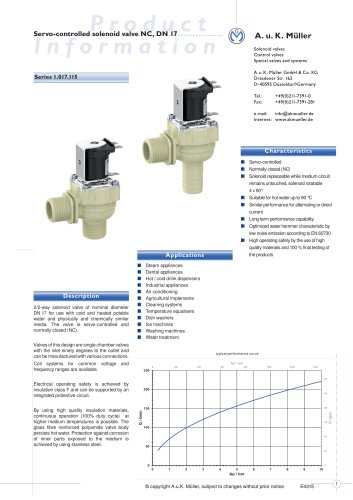01.017.115 Servo-controlled solenoid valve NC, DN 17