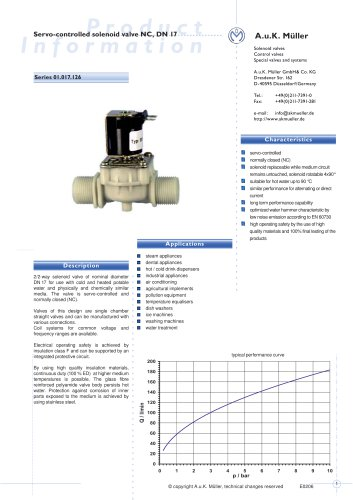 01.017.126 Servo-controlled solenoid valve NC, DN 17