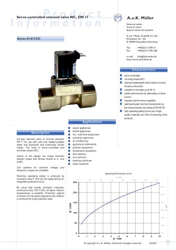 01.017.521 Servo-controlled solenoid valve NC, DN 17