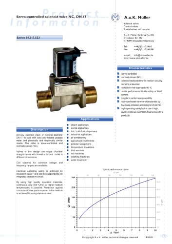 01.017.523 Servo-controlled solenoid valve NC, DN 17