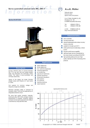 01.017.524 Servo-controlled solenoid valve NC, DN 17