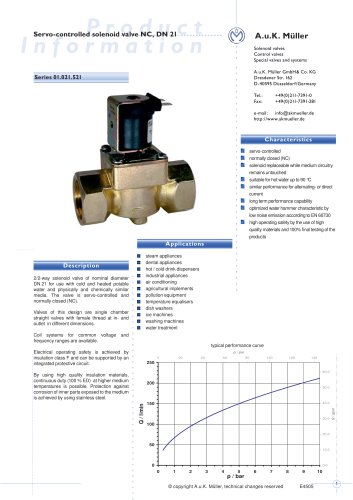 01.021.521 Servo-controlled solenoid valve NC, DN 21
