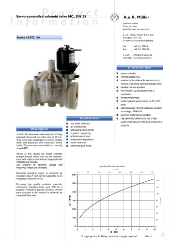 14.025.126 Servo-controlled solenoid valve NC, DN 25