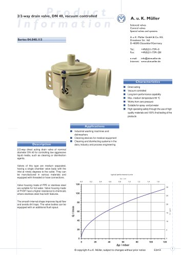 2/2-way drain valve, DN 40, vacuum controlled