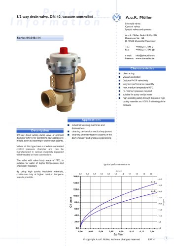 3/2-way drain valve, DN 40, vacuum controlled