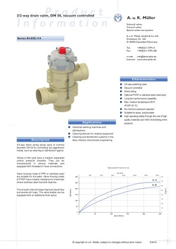 3/2-way drain valve, DN 50, vacuum controlled