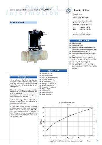 36.010.126 Servo-controlled solenoid valve NO, DN 10