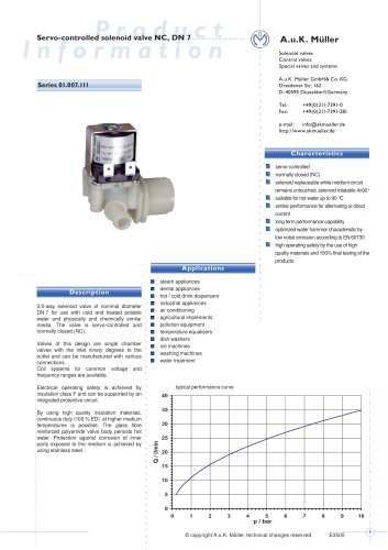 SERVO-CONTROLLED SOLENOID VALVE NC, DN7