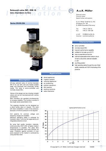 Solenoid valve NC, DN 10 two chambers in line