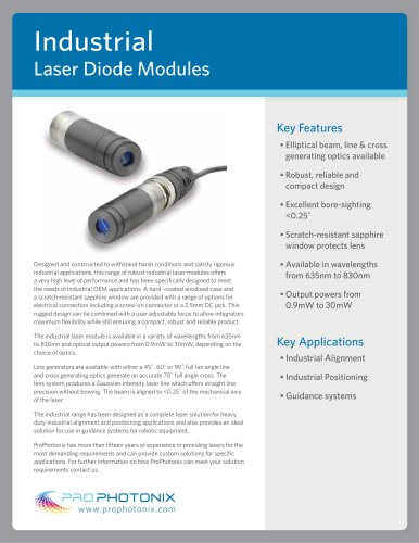 Industrial Laser Diode Modules: Fixed Focus